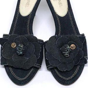 CHANEL Camellia DENIM Slide CC LOGO Heels 37 6.5 7